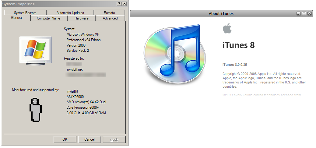 iTunes 8 and 9 on Windows XP x64